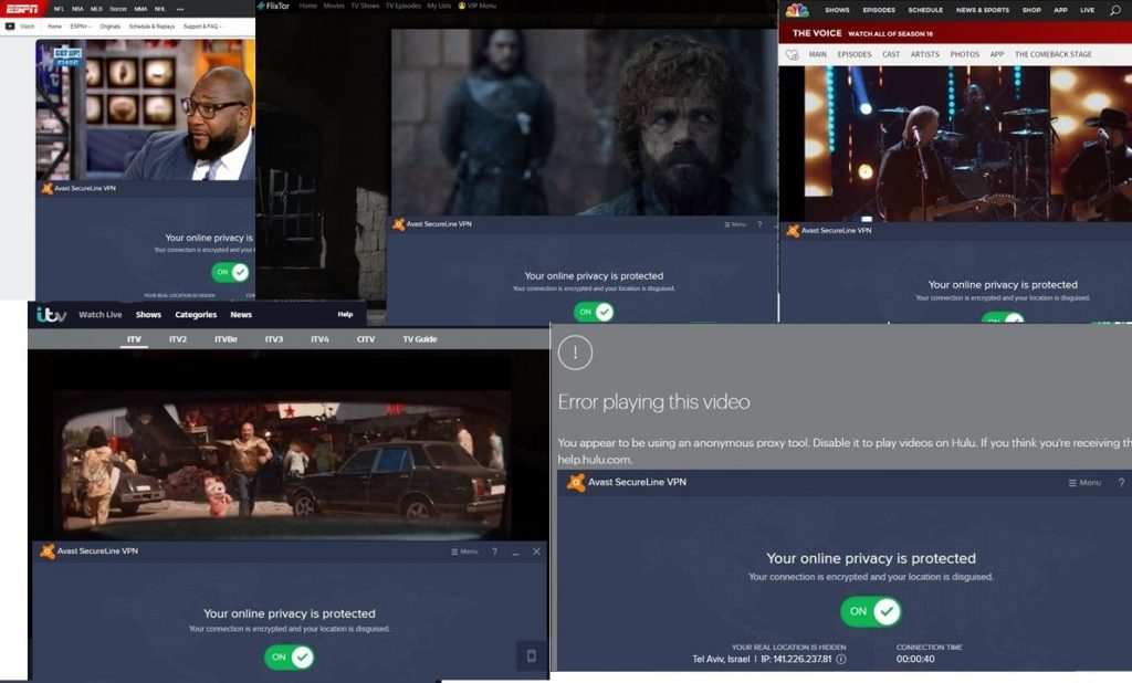 Collage of Streaming options with Avast SecureLine VPN