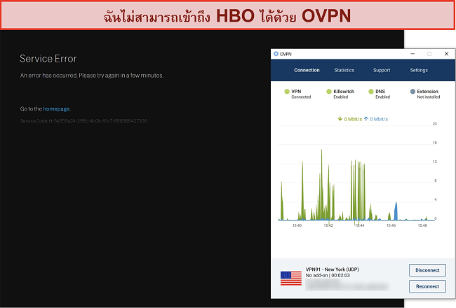 ภาพหน้าจอของ OVPN ถูกบล็อกโดย HBO