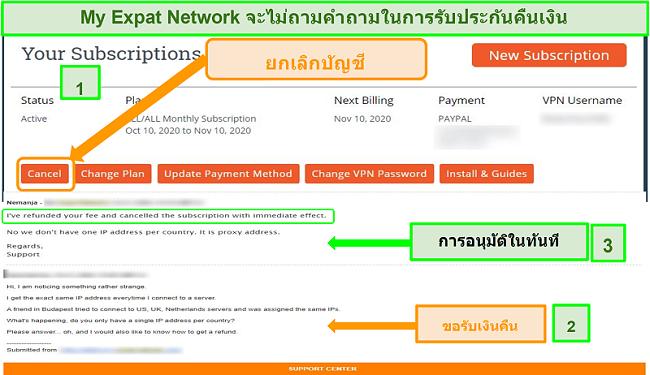 ภาพหน้าจอของกระบวนการคืนเงินของ My Expat Network