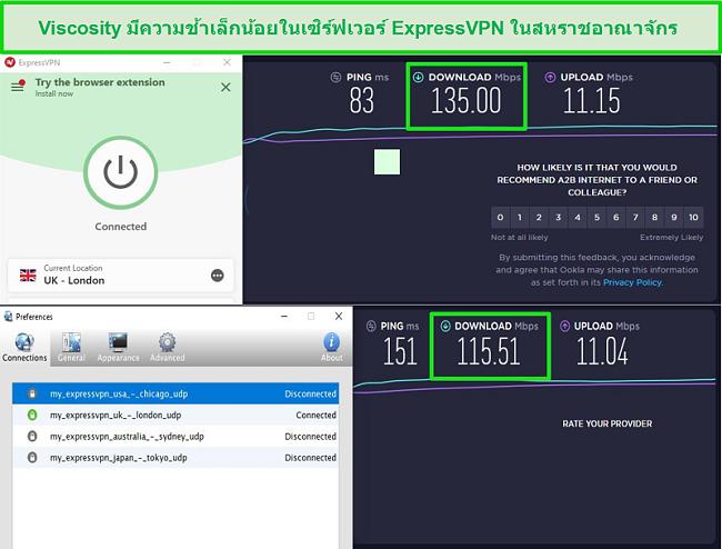 ภาพหน้าจอของผลการทดสอบความเร็วขณะเชื่อมต่อกับเซิร์ฟเวอร์ Express VPN ในสหราชอาณาจักรผ่านทั้ง Viscosity และ ExpressVPN