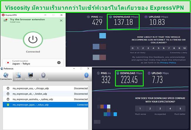 ภาพหน้าจอของผลการทดสอบความเร็วขณะเชื่อมต่อกับเซิร์ฟเวอร์ญี่ปุ่นของ Express VPN ผ่านทั้ง Viscosity และ ExpressVPN