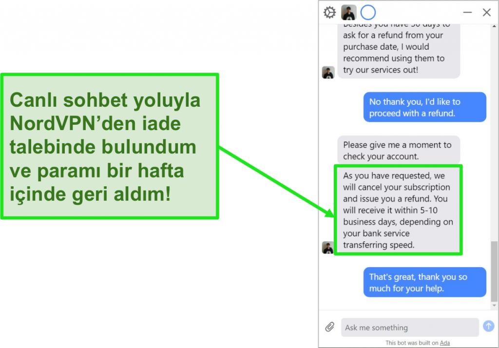 NordVPN'in canlı sohbetinde 30 günlük para iade garantisiyle para iadesi talep eden bir müşterinin ekran görüntüsü