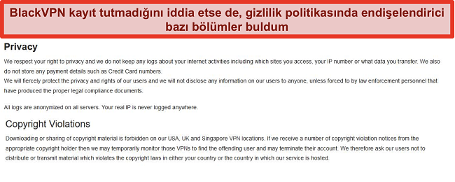 BlackVPN Hizmet Koşullarının Gizlilik ve Telif Hakkı İhlalleri bölümlerinin ekran görüntüsü