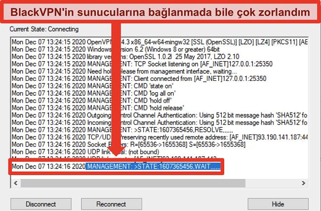 BlackVPN'in OpenVPN istemcisi aracılığıyla bir sunucuya bağlanmaya çalışmasının ekran görüntüsü