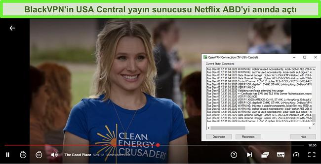 BlackVPN, OpenVPN istemcisi aracılığıyla ABD Merkezi yayın sunucusuna bağlıyken Netflix'teki The Good Place'in ekran görüntüsü