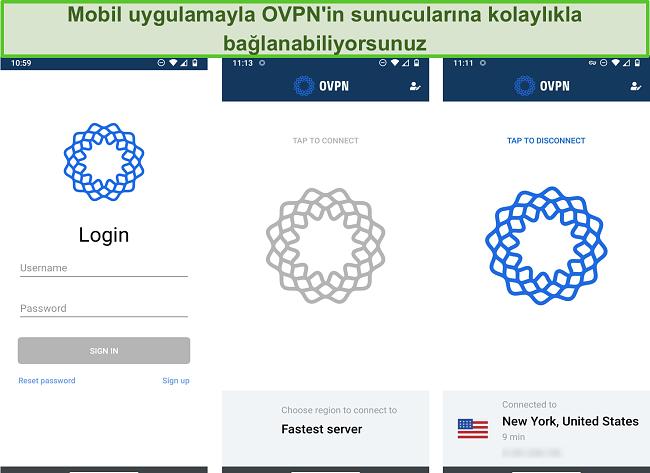 OVPN'nin mobil cihazlarda oturum açma işleminin ekran görüntüsü