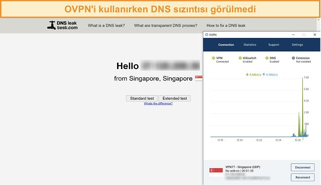 DNS sızıntı testini geçen OVPN'in ekran görüntüsü