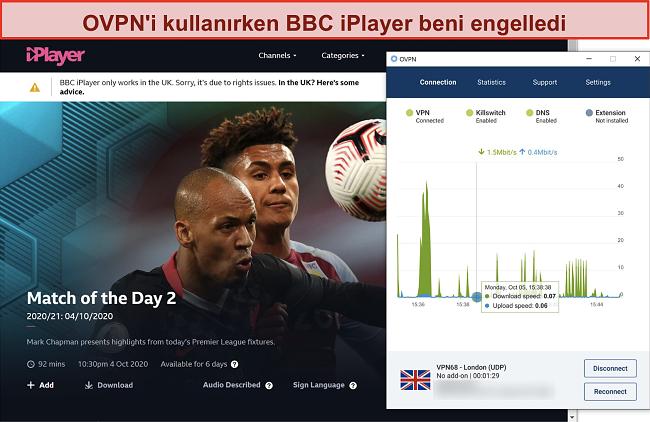 OVPN'nin BBC iPlayer tarafından engellendiğini gösteren ekran görüntüsü