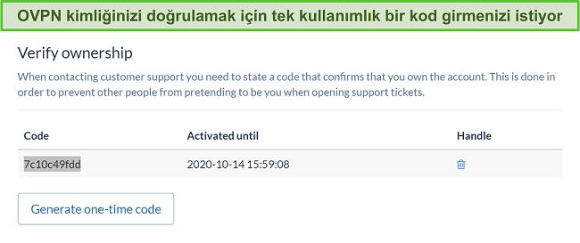 Abonelik iptal işlemi sırasında kimliği doğrulamak için OVPN'nin tek seferlik kodunun ekran görüntüsü