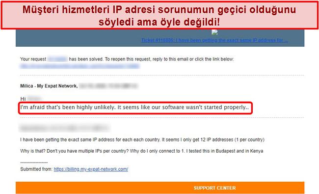 Bir IP adresi sorunu için açıklama sağlayan Expat Network e-posta yanıtımın ekran görüntüsü