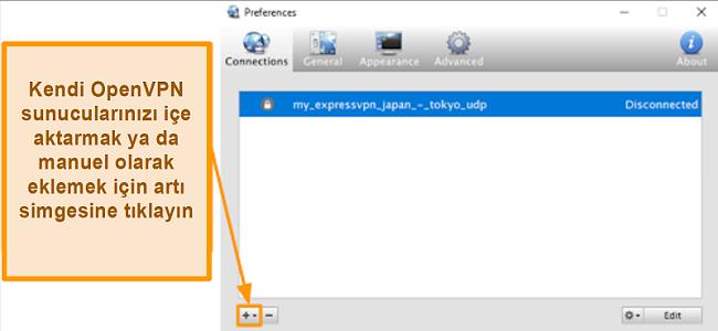 OpenVPN sunucularının nasıl ekleneceğini gösteren Viscosity uygulamasının ekran görüntüsü