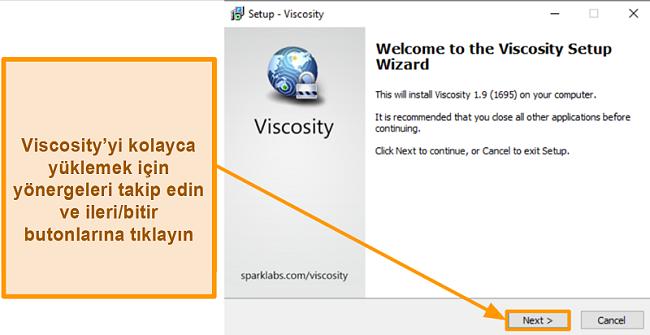 Uygulamayı yüklemek için Viscosity kurulum sihirbazının ekran görüntüsü