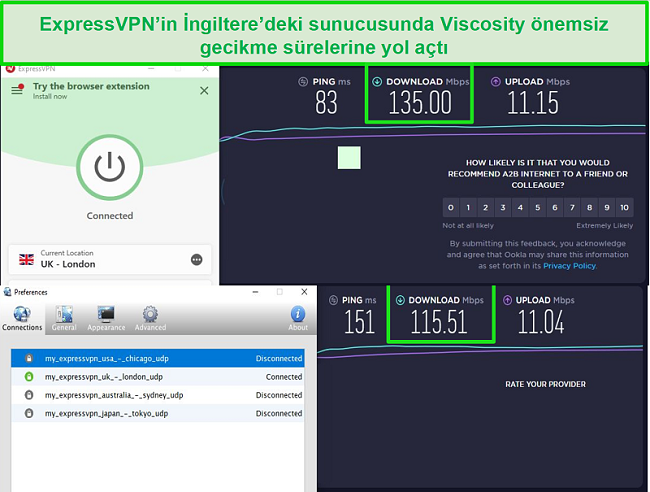 Screenshot of speed test results while connected to Express VPN's UK servers through both Viscosity and ExpressVPN