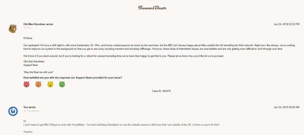 Screenshot of TunnelBear's customer support response via contact form