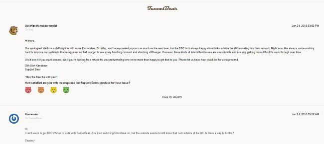 Screenshot of TunnelBear's customer support response via contact form