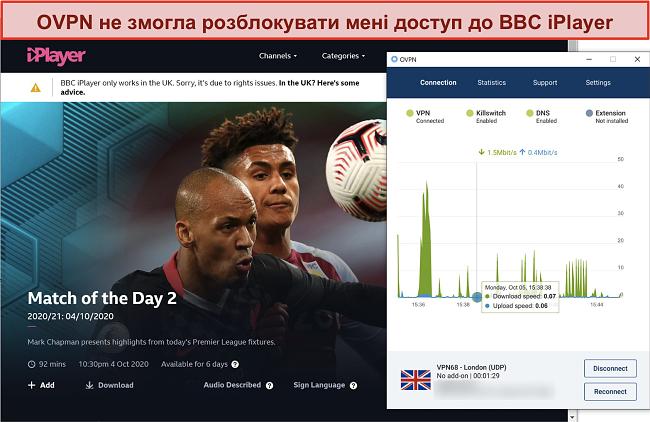 Знімок екрана OVPN блокується BBC iPlayer