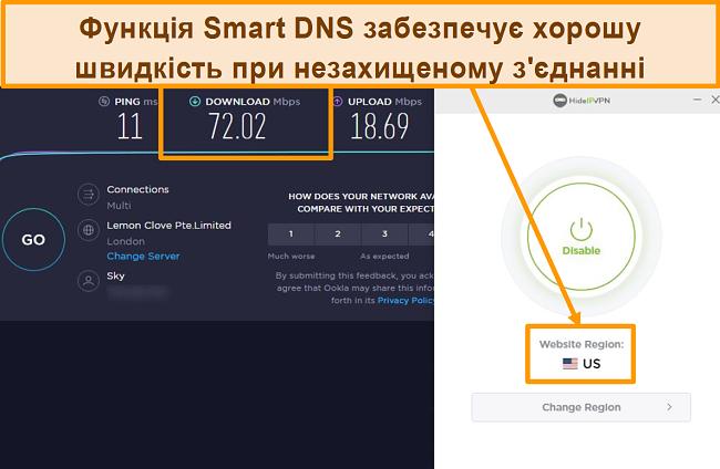 Знімок екрана тесту швидкості HideIPVPN Smart DNS.