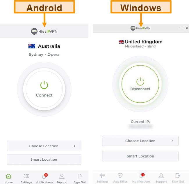Знімок екрана настільних та мобільних додатків HideIPVPN.