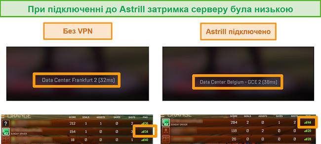 Знімок екрана пінгів Apex Legends та Rocket League при відключенні та підключенні до локального сервера Astrill VPN.