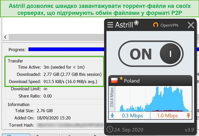 Знімок екрану Astrill, що передає файл через польський сервер, що підтримує P2P.