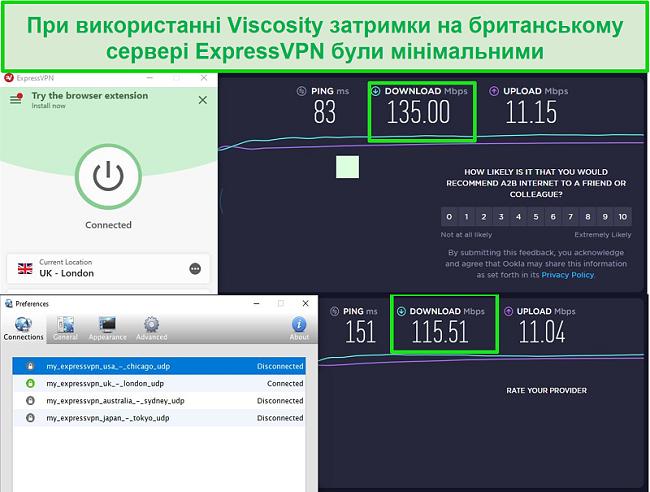 Знімок екрану результатів тестування швидкості під час підключення до британських серверів Express VPN через Viscosity та ExpressVPN
