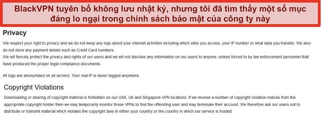 Ảnh chụp màn hình của phần Quyền riêng tư và Vi phạm bản quyền trong Điều khoản dịch vụ của BlackVPN