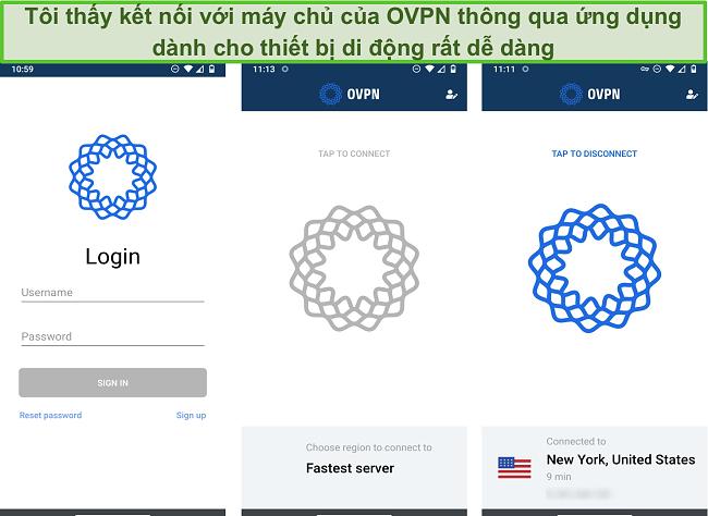 Ảnh chụp màn hình quy trình đăng nhập của OVPN trên thiết bị di động