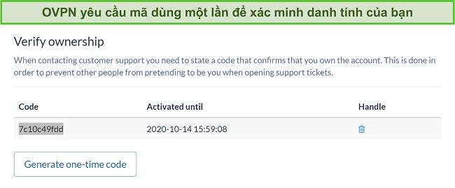 Ảnh chụp màn hình mã một lần của OVPN để xác minh danh tính trong quá trình hủy đăng ký