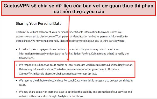 Ảnh chụp màn hình chính sách bảo mật của CactusVPN cho thấy họ sẽ chuyển giao dữ liệu của bạn