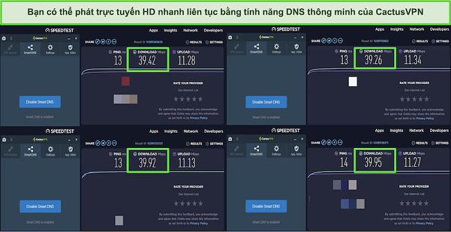 Ảnh chụp màn hình 4 bài kiểm tra tốc độ khi được kết nối với máy chủ DNS thông minh của CactusVPN