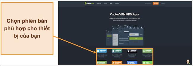Ảnh chụp màn hình hiển thị nơi tải xuống phiên bản CactusVPN bạn muốn từ trang web của nó