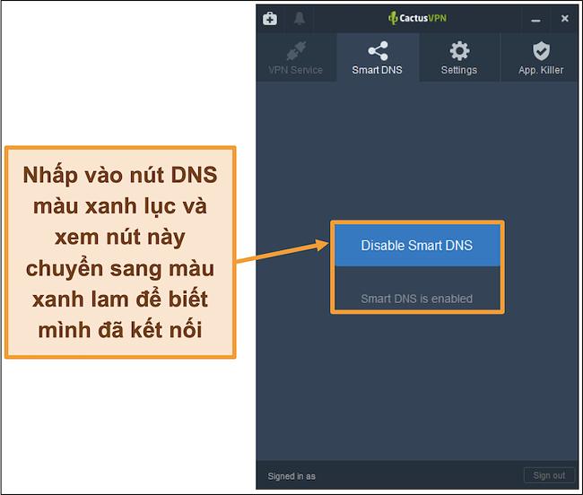 Ảnh chụp màn hình giao diện CactusVPN hiển thị cách bật DNS thông minh