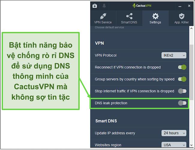 Ảnh chụp màn hình hiển thị cách bật tính năng bảo vệ chống rò rỉ DNS