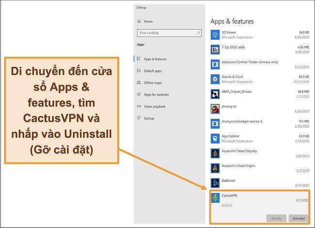 Ảnh chụp màn hình hiển thị cách bắt đầu quá trình gỡ cài đặt CactusVPN từ menu Ứng dụng và tính năng
