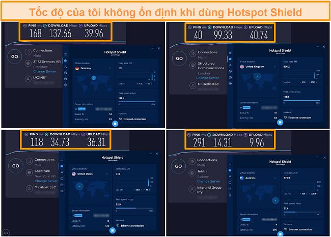 Ảnh chụp màn hình các bài kiểm tra tốc độ Hotspot Shield từ Đức, Anh, Mỹ và Úc