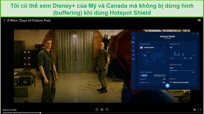 Ảnh chụp màn hình của Hotspot Shield bỏ chặn Disney + và phát trực tuyến X-Men: Days of Future Past.