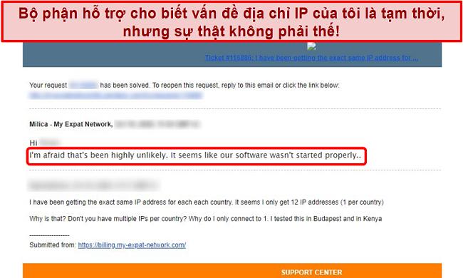 Ảnh chụp màn hình phản hồi email của Mạng người nước ngoài của tôi cung cấp lời giải thích cho sự cố địa chỉ IP