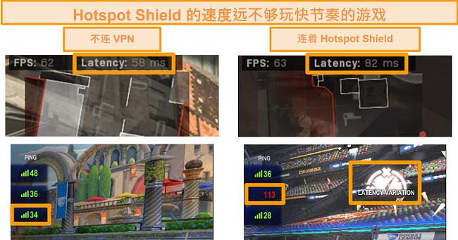 当连接到PC上的Hotspot Shield VPN时,《使命召唤:现代战争与火箭联盟》屏幕截图经过了延迟增加测试。