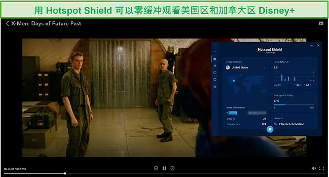 Hotspot Shield的屏幕快照取消阻止Disney +并流式传输X战警:过去的日子。