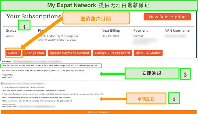 My Expat Network退款流程的屏幕截图