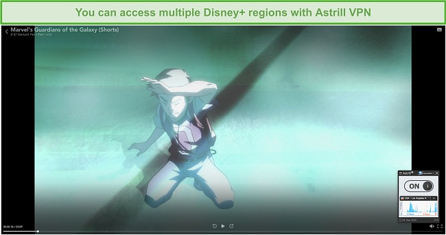 Screenshot of Astrill VPN connected to a Los Angeles server and unblocking Disney+.