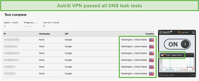 Screenshot of Astrill VPN successfully passing DNS leak tests.