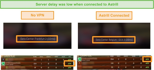 Screenshot of Apex Legends and Rocket League pings when disconnected and connected to a local Astrill VPN server.
