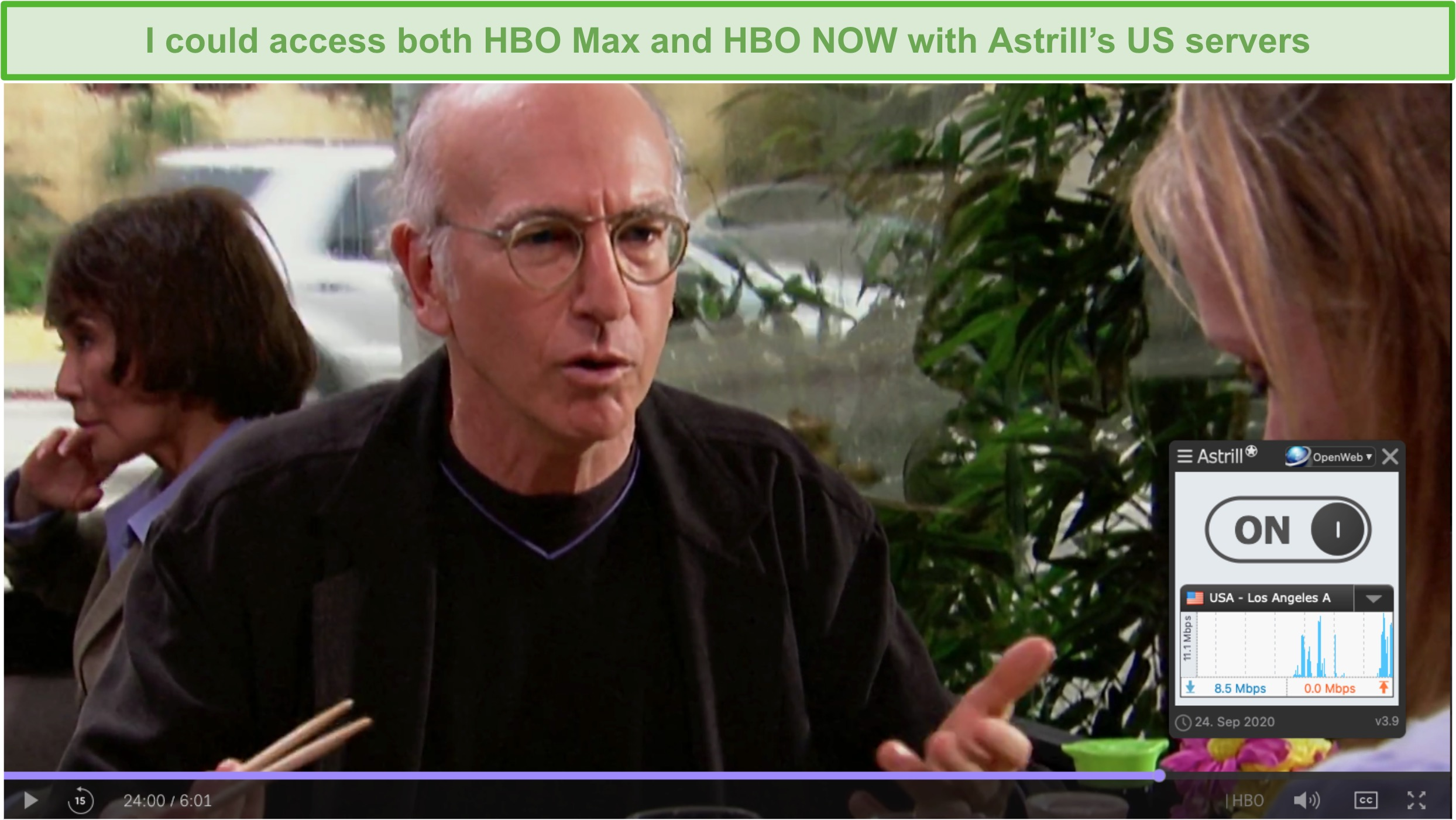 Screenshot of Astrill VPN unblocking Curb Your Enthusiasm on HBO Max.