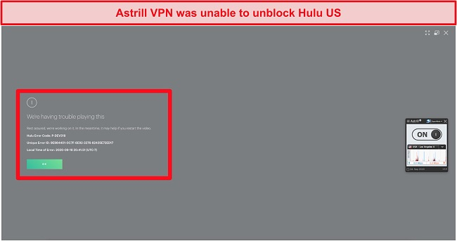 Screenshot of Astrill VPN connected to a US server and being shown an error code by Hulu US.