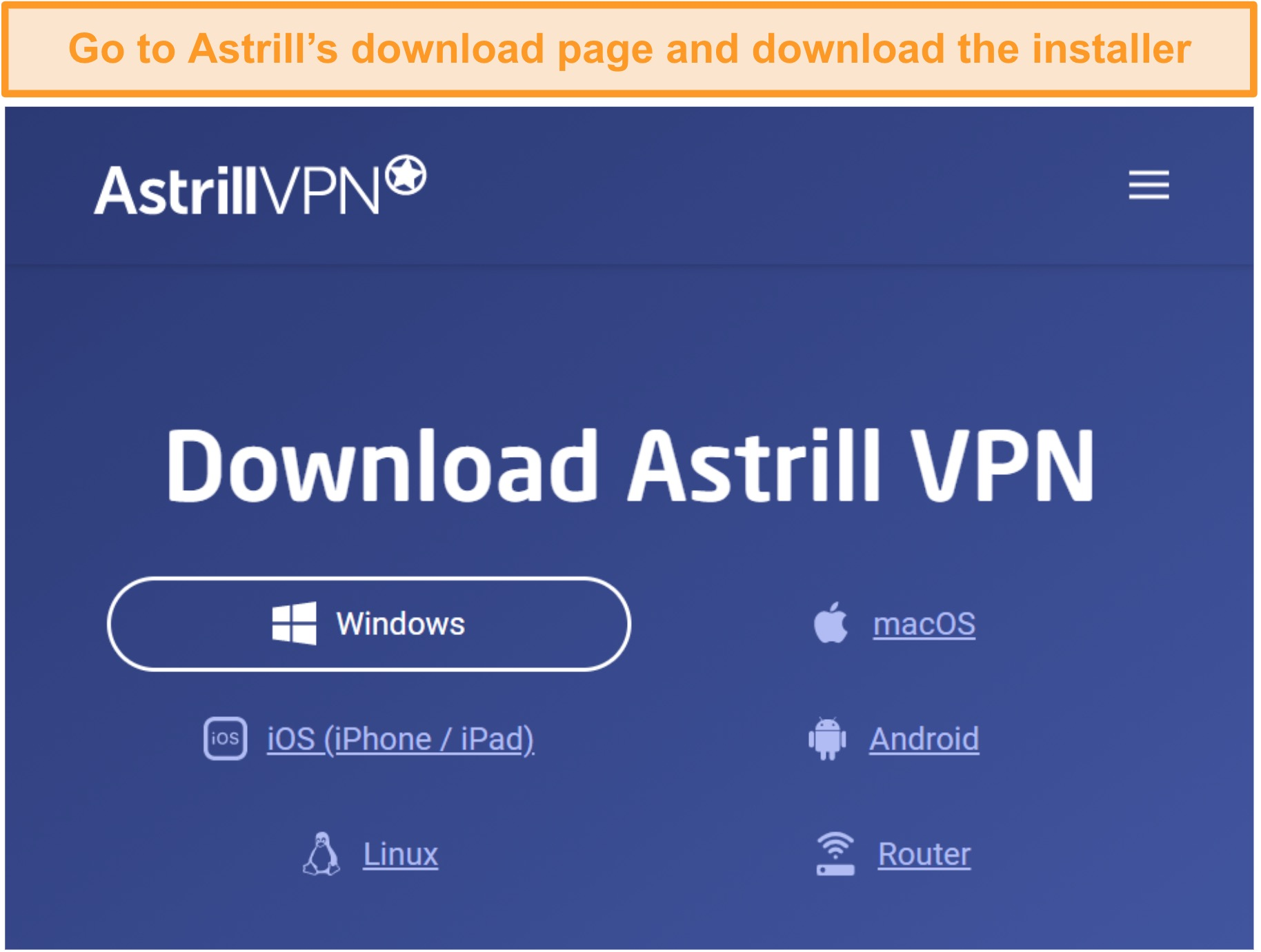 Screenshot of Astrill VPN download page.