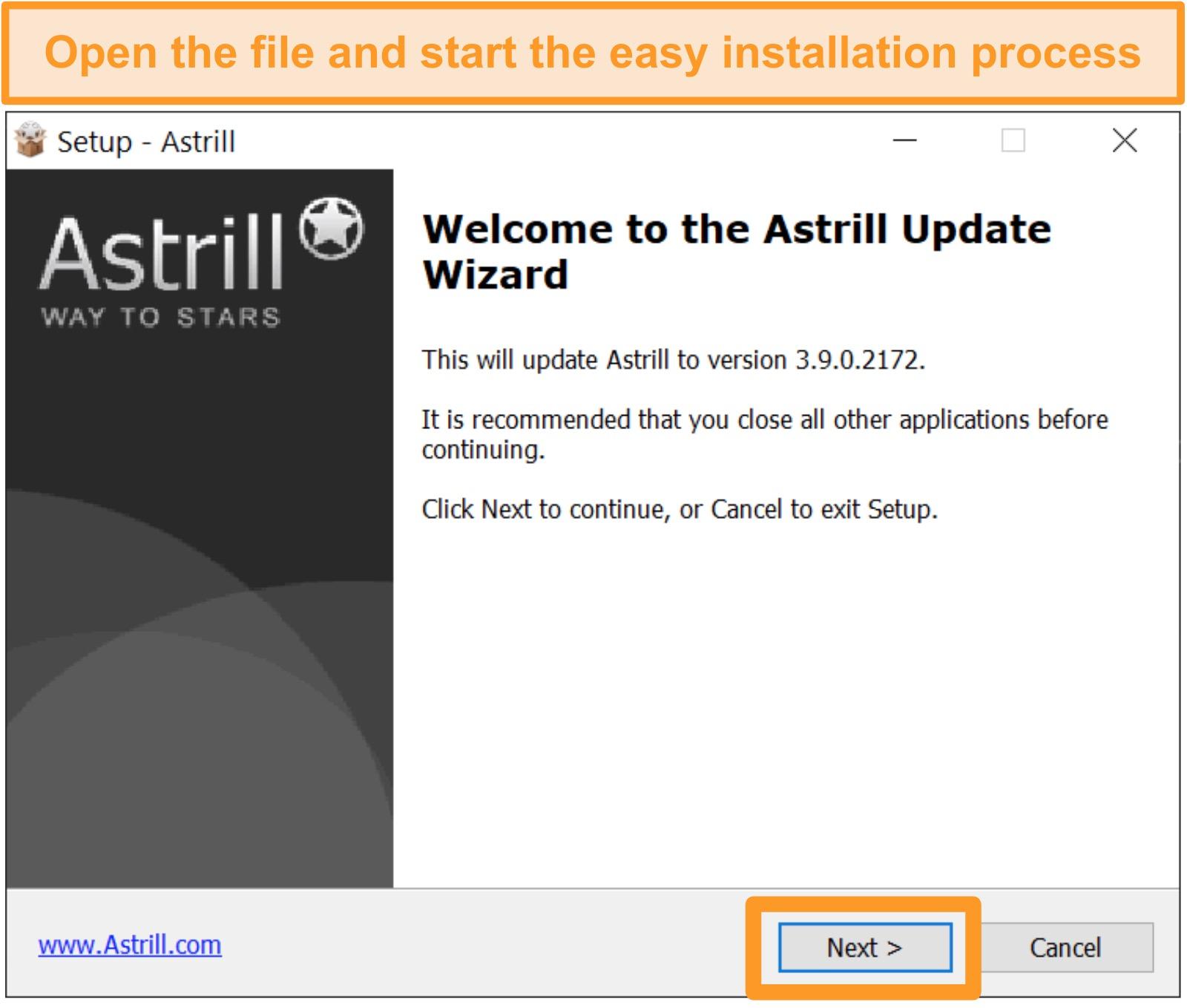 Screenshot of Astrill install screen on Windows.