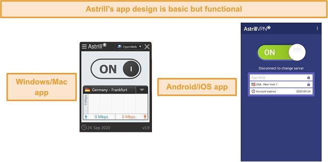 Screenshot of Astrill VPN's apps on desktop and mobile.