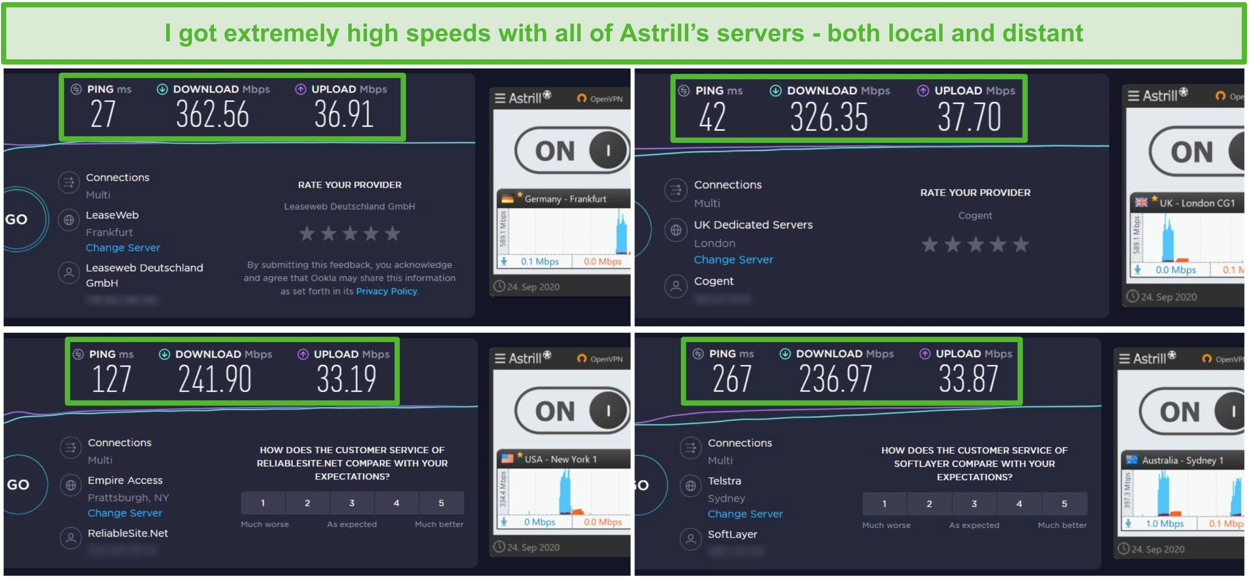 Screenshot of 4 speed tests with Astrill's Frankfurt, London, New York, and Sydney Servers.
