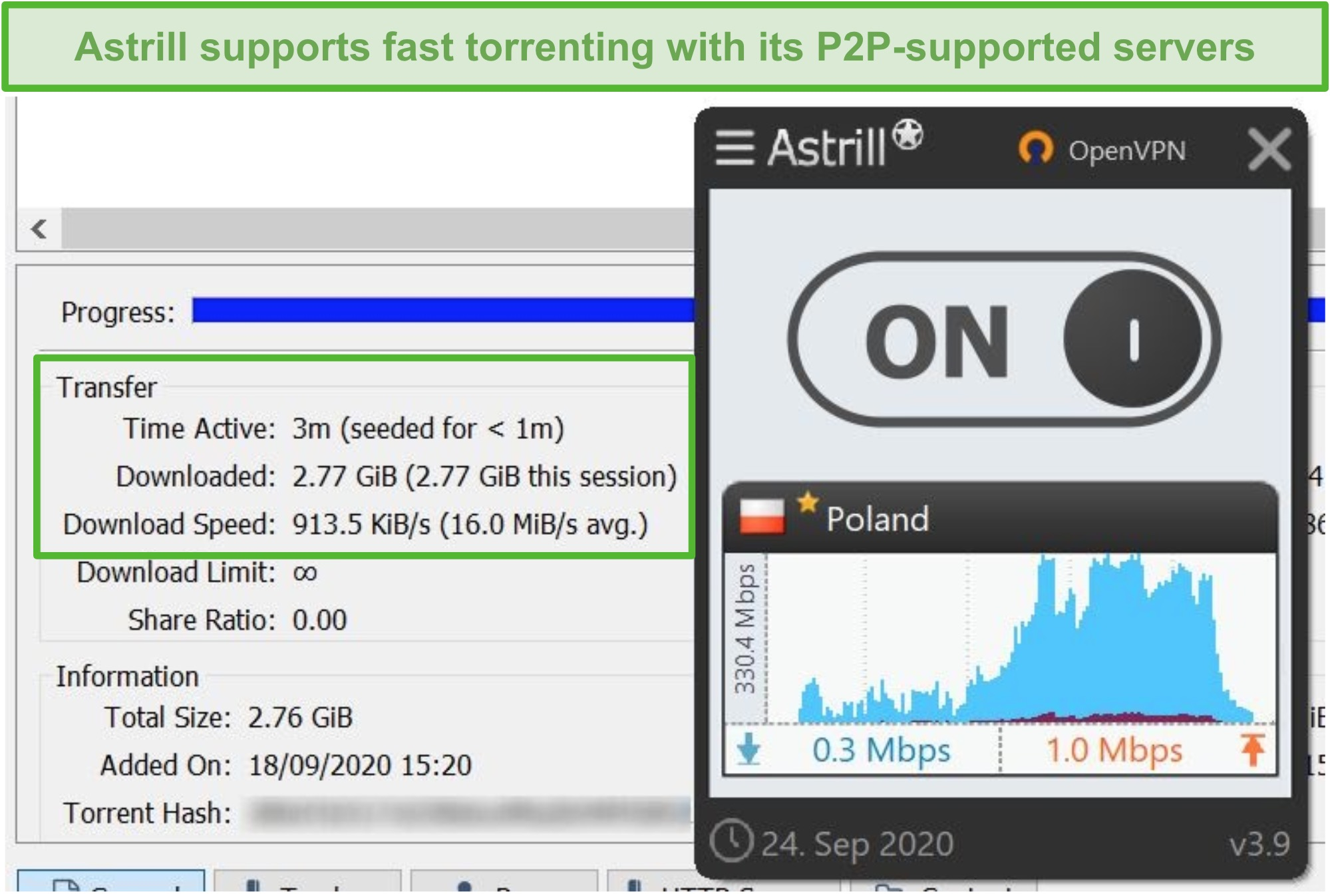 Screenshot of Astrill torrenting a file through its Polish P2P-supporting server.